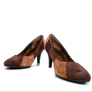 BIJOU Brown Color Block Suede Heels
